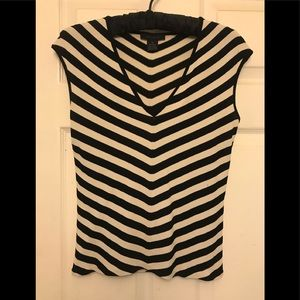 Limited black & cream striped knit sleeveless.